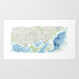 Toronto Canada Watercolor city map Art Print