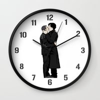 johnlock Wall Clocks featuring Kissing Sherlock and John by br0-harry