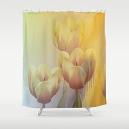 Tulips in golden light Shower Curtain