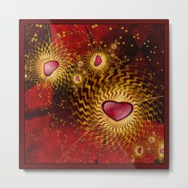 With Love In Red and Gold Metal Print