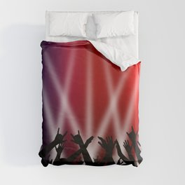 Dancing Crowd With Multi Colour and White Spotlights Duvet Cover