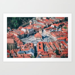 Brasov -  City -  Romania -  Transylvania -  Architecture - Vintage illustration. Retro décor. Art Print