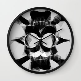 psychedelic skull art geometric triangle pattern abstract in black and white Wall Clock