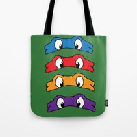 tmnt Tote Bags featuring TMNT by Kaylabeaisaflea