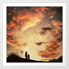 Coucher de soleil sur les Pyrénées Art Print