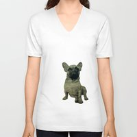 frenchie V-neck T-shirts featuring Frenchie by Mi Nu Ra
