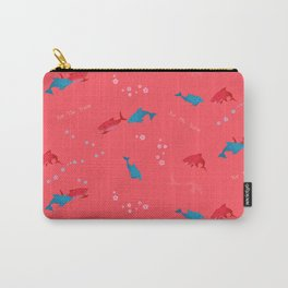 Pink Shark and Dolphin Carry-All Pouch