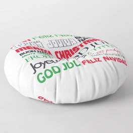 merry christmas in different languages II Floor Pillow