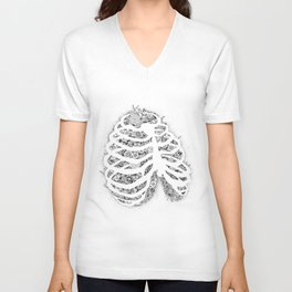 Anatomy Series: Rib Cage Flowers Unisex V-Neck