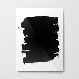 Black Minimalist Abstract Brushstrokes Metal Print