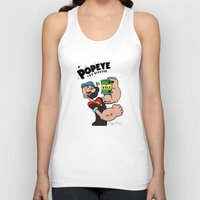 popeye Tank Tops featuring Popeye The Hipster by Biagio Black