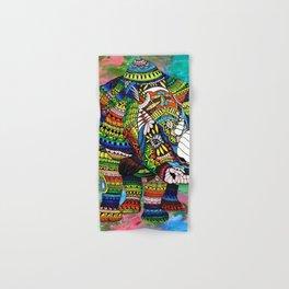 Rainbow Rhino Green Background Hand & Bath Towel
