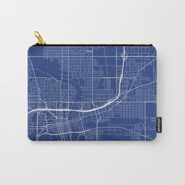 Des Moines Map, USA - Blue Carry-All Pouch