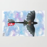 hiccup Area & Throw Rugs featuring Hiccup and Toothless Flying from How to Train your Dragon 2 by Brietron Art