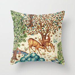 William Morris Deer by a Brook Tapestry Beige Throw Pillow