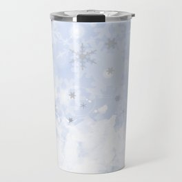 Silver snowflakes on blue Travel Mug