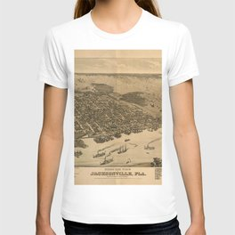Vintage Pictorial Map of Jacksonville FL (1874) T-shirt