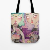 loll3 Tote Bags featuring Pizza Party by lOll3