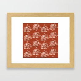 Elephant on Red Framed Art Print