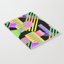 Neon Ombre 90's Striped Shapes Notebook