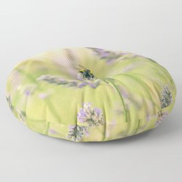 A bee on the lavender Floor Pillow