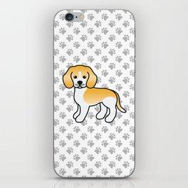 Cute Lemon And White Beagle Dog Cartoon Illustration iPhone Skin