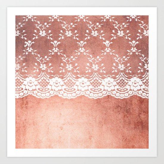 White floral luxury lace on pink rosegold grunge backround Art Print