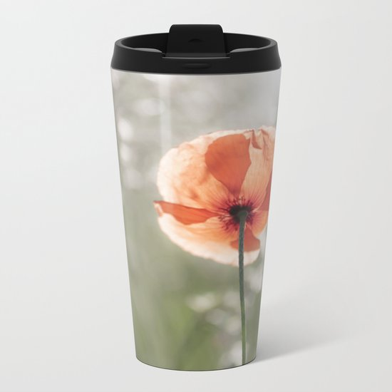 Poppy at backlight - Poppies Blossom Flower Floral Metal Travel Mug