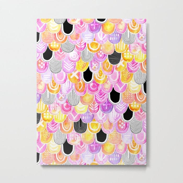 Citrus, Cotton Candy & Licorice Watercolor Scales Metal Print