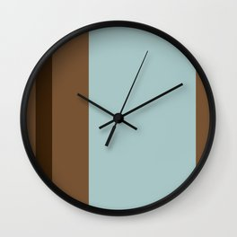 Light Blue and Brown Stripes Wall Clock