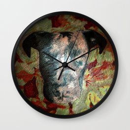 Fur texture Velvet Underground art-punk inspired Pitbull with floral in rich red and grey Wall Clock