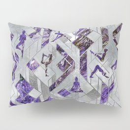 Yoga Asanas in Amethyst on geometric pattern Pillow Sham