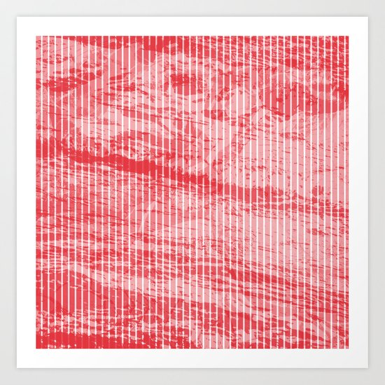 Grunge red and white stripes texture Art Print
