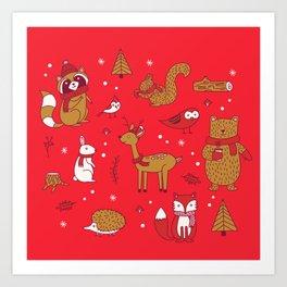 Winter Woodlands - Red Art Print