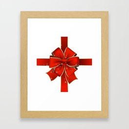 Red Bow on white Framed Art Print