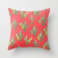 cacti Throw Pillows featuring Cacti by Megan Dignan