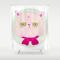 persian Shower Curtains featuring Persian Cat by Madelen Foss