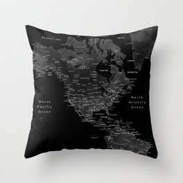 Black and grey world map with cities Throw Pillow