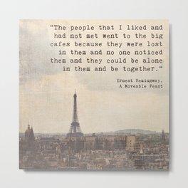 Hemingway in Paris Metal Print
