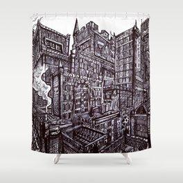 Grim City Central Shower Curtain