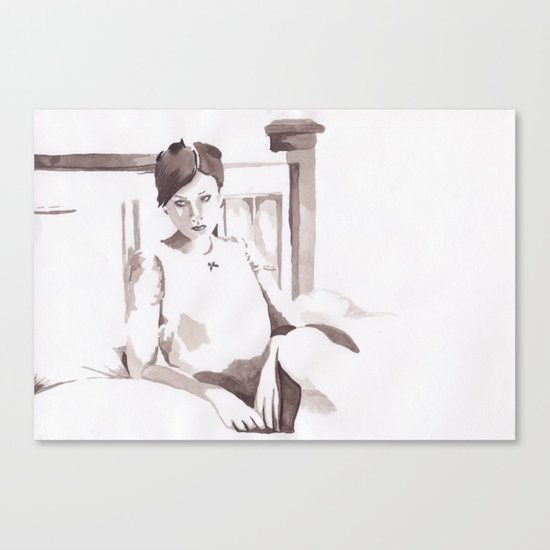Figure and Bed Canvas Print