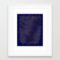 navy Framed Art Prints featuring Gold Berry Branches on Navy by Cat Coquillette