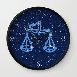 Libra Constellation and Zodiac Sign with Stars Wall Clock