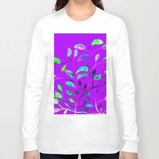 Neon Purple Pop Leaves Long Sleeve T-shirt
