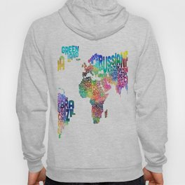 Typography Text Map of the World Hoody