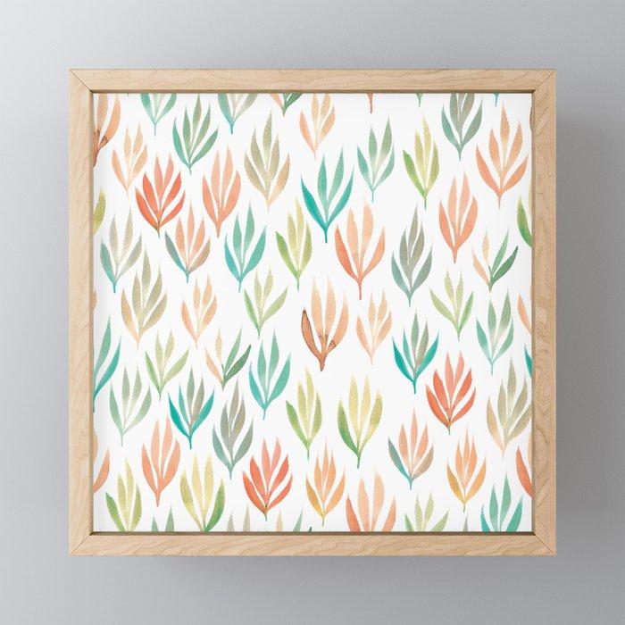 Watercolour Ferns | Green, Orange, Coral, Mint Framed Mini Art Print