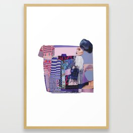 purple modern collage with pink and red Framed Art Print