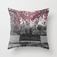 cherry blossom Throw Pillows featuring Cherry Blossom by Claire Doherty