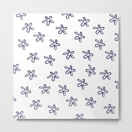 Free Flowers Abstract Pattern in Delft Blue and White Metal Print