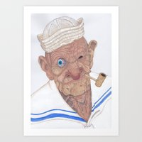 popeye Art Prints featuring Old Popeye by Delineatas